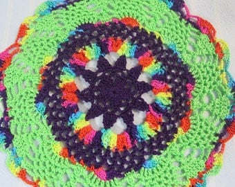 Lime Green Doily-7.75 inch Doily-Pineapple Doily-Lime Green/Purple Doily-Egyptian Cotton HandCrocheted Doily-Cindy's Loft