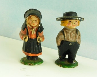 Antique Cast Iron Amish Girl and Boy. Small Cast Iron Toy Figurines.