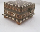 Wooden inlay Box small Good Condition