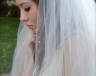 Swarovski Crystal Veil 50 inch long Waltz Veil and Blusher, ankle, tea length Wedding Veil  white, ivory, champagne illusion tulle