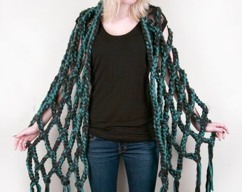 Lola's Diamond Wrap in Charcoal and Blue-Green Heather (choose your colors!)