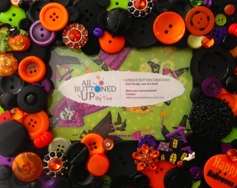 HALLOWEEN Button Frame with Witch in Black Orange Lime and Purple ~ Holiday Frame ~ Gift for Her ~ First Halloween ~ for 4x6 Photo