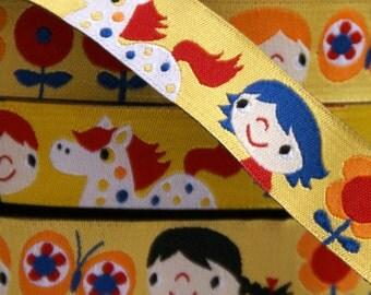 woven ribbon happy girls yellow