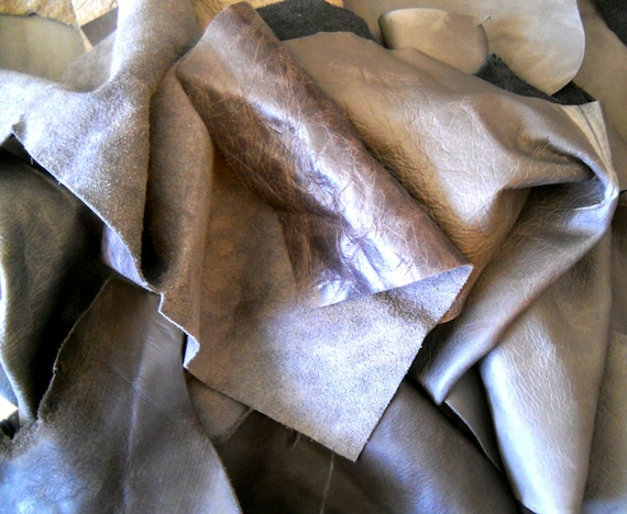 Craft supplies leather pieces gray for Leather sheets for crafting