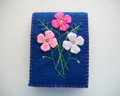 Blue Needle Book with Hand Embroidered Felt Flowers Hand sewn