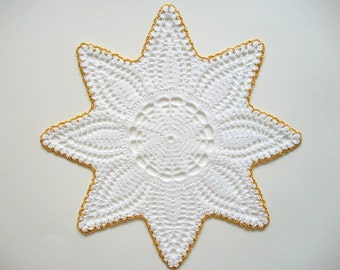 Star Doily Crochet White Cotton Lace with Golden Edge Heirloom Quality