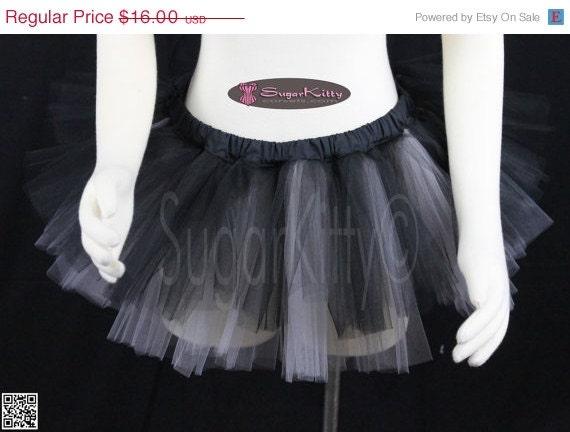 "CLEARANCE Black & Silver Tulle Tutu Micro Mini 8"" - Size L/XL - SugarKitty Corsets"