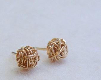 Gold Stud Earring, Wire Ball Post Earrings, Gold Earring Studs, Gold Stud Earrings