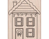 SALE Clearance • Decorated House Rubber Stamp (Woodblock Craft Stamp) Christmas Stamp • Wreath • Snow • Merry Christmas • Card Making(H5438)