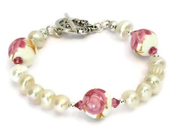 Pink Rose & Freshwater Pearl Bracelet, Gift for Women Mom Sister Wife Daughter Grandma Under 30, Wedding Jewelry, Mothers Day, Christmas