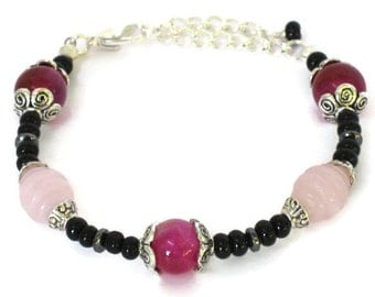 Hot Pink Fuchsia Agate Black Beaded Bracelet, Gifts for Women Wife Mom Daughter Sister Grandma Under 25, Mothers Day, Birthday Christmas
