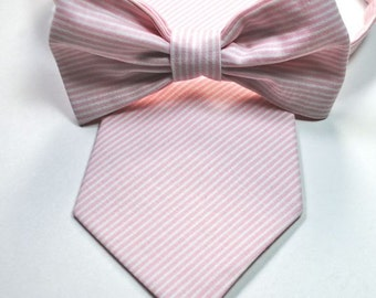 Blush Pink Cotton Mens Neckties and Bow Ties