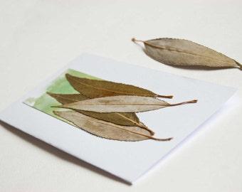 Handmade Greeting Card - Pressed Flowers Art Collage Green Grey Leaves - Birthday Card