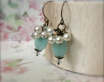 Pastel Blue Earrings Amazonite Cluster Dangle Earrings Swarovski Elements Crystal Pearls - Celine