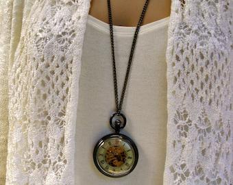 Steampunk Pocket Watch Necklace - Engravable Watch - Black Enamel Case - View Watch Gears - Women - Watch - MNW822nk
