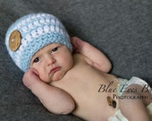 Newborn Baby Boy Beanie Cap with Large Coconut Button - Hand Crocheted