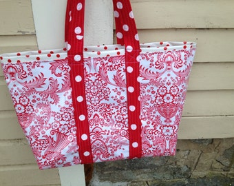 Red toile large oilcloth tote bag