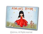 Nursery door sign, personalized door sign,door name plates, kids room signs, nursery art, door name signs, girls room art, dancing girl, art