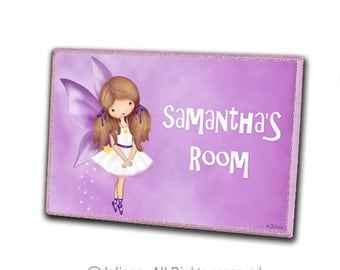 Angel door sign, girls room sign, door hanger, kids room, personalized girls art, fairy, purple