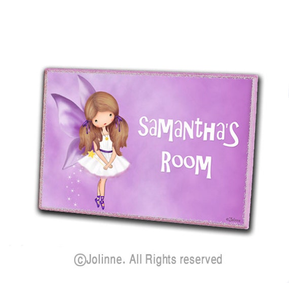 Angel door sign, girls room sign, door hanger, kids room, personalized girls art, fairy
