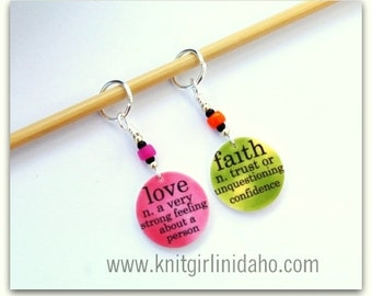 Faith and Love Stitch Markers (Set of 2)