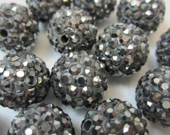 10pcs 10mm or 12mm Hematite Pave Rhinestone Polymer Clay Beads