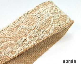 Beige linen ribbon with off white lace, braided linen ribbon, 4.5cm, 2 meters