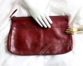 Vintage Genuine Leather Handbag - Small Clutch - Burgundy Purse by Contessa