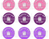 Primary 2014 Theme Families Are Forever girly 1 inch circle digital images for bottle caps, tags 4X6 digital graphics collage sheet