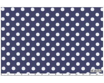 Lecien 1/4 inch Pencil Eraser Polka Dot Dots Fabric 4506 White Dots on Navy Blue