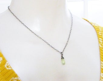 wire wrapped lime green prehnite gemstone bead sterling silver necklace