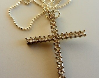 Exquisite jewel 1970s - 925 silver and swarovski - beautiful cross pendant with chain---Art.811-