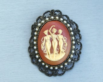 Vintage Cameo and Faux Pearl Pendant As Is 3 Ladies