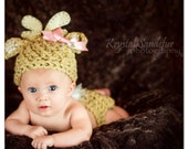 Baby Girl Deer Hat and Diaper Cover Set Great Photo Prop