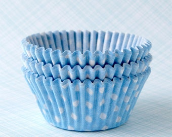 Polka Dot Cupcake Liners / Cupcake Papers - Light Blue (100)