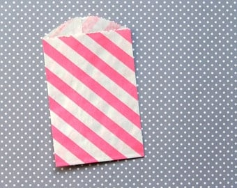 """SALE: Little Pink Striped Paper Bags - Goody Bags - 2.75 x 4"""" (20)"""