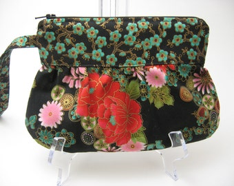 Gathered Wristlet Purse, Cell Phone purse, Coral and Turquoise Oriental Floral on Black, Ready to ship