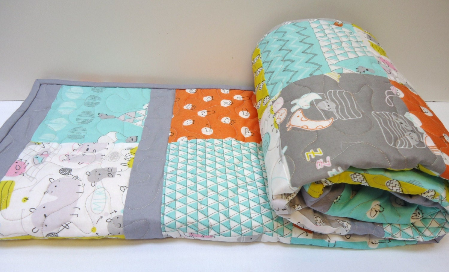 Organic baby quilt monsterz crib bedding by nowandthenquilts