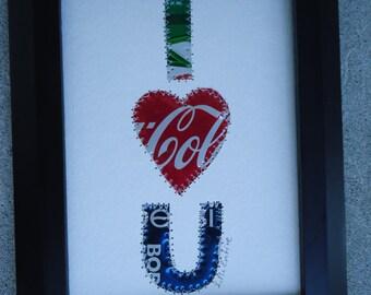 I HEART U -  Soda Can -  Beer Can - Tin Art - 5 x 7 Original Collage -  Wedding - Birthday - Anniversary