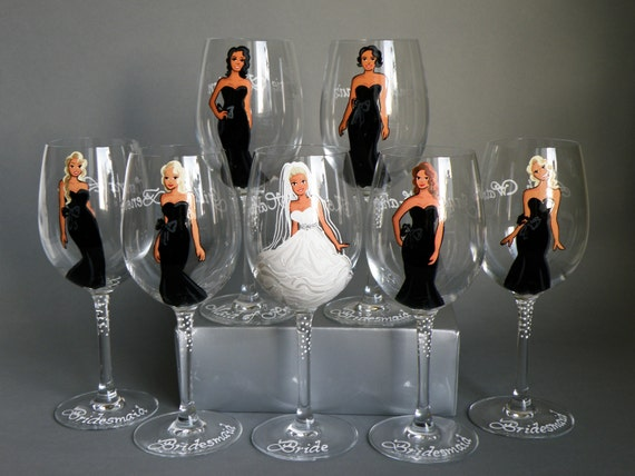 SPECIAL OFFER Autumns SALE Bridal Party Wine or champagne Glasses Bridesmaids Gift - Personalized Caricatures Handpainted to their Likeness