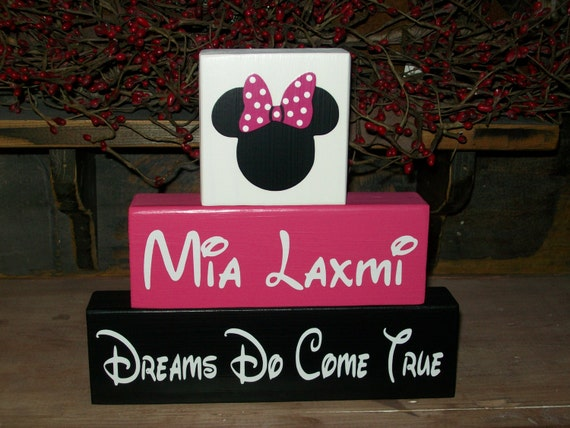 Personalized Minnie Mouse Wood Sign Shelf Blocks Dreams Do Come True Nursery Kids Room Decor Baby Girls Boys Kids