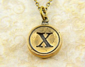 Letter X Necklace - Bronze Initial Typewriter Key Charm Necklace - Gwen Delicious Jewelry Design GDJ