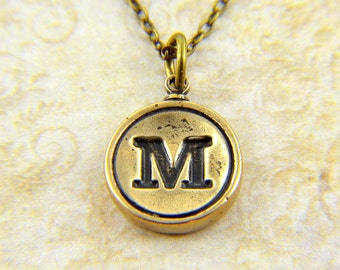 Letter M Necklace - Bronze Initial Typewriter Key Charm Necklace - Gwen Delicious Jewelry Design