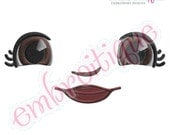 Doodley Doll Face 7 - several sizes included- Instant Email Delivery Download Machine embroidery design