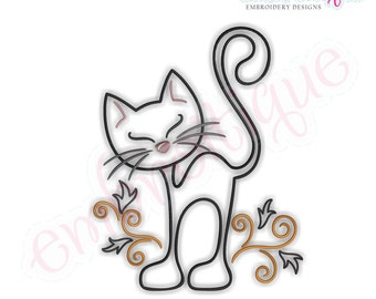 Curly Cat Redwork Outline - Instant Email Delivery Download Machine embroidery design