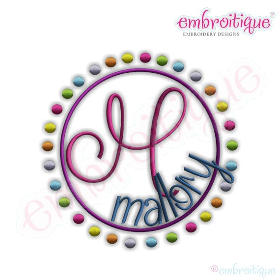 Rainbow Dots Font Frame- Instant Email Delivery Download Machine embroidery design