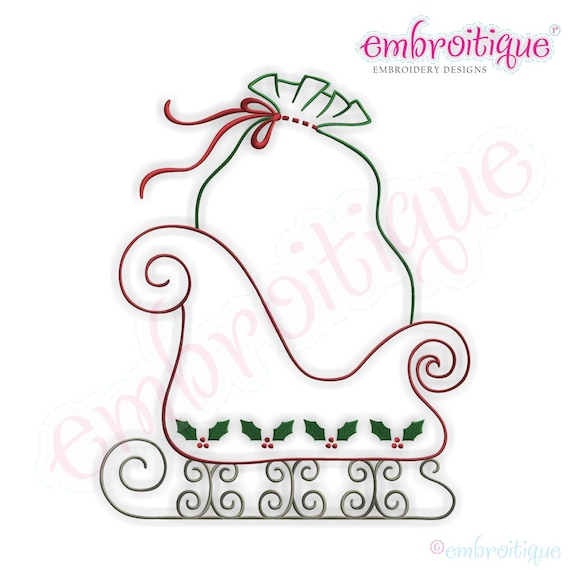 Simple Christmas Sleigh Embroidery Design Large Instant
