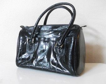 Black Eel Skin 80s Doctors Bag