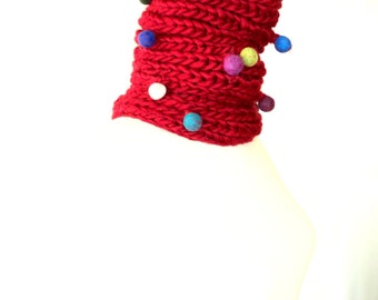 Felted Pom-Pom Scarf ,Handmade Scarf ,Knitting Scarf ,Colors Scarf ,Children scarf, Red Scarf