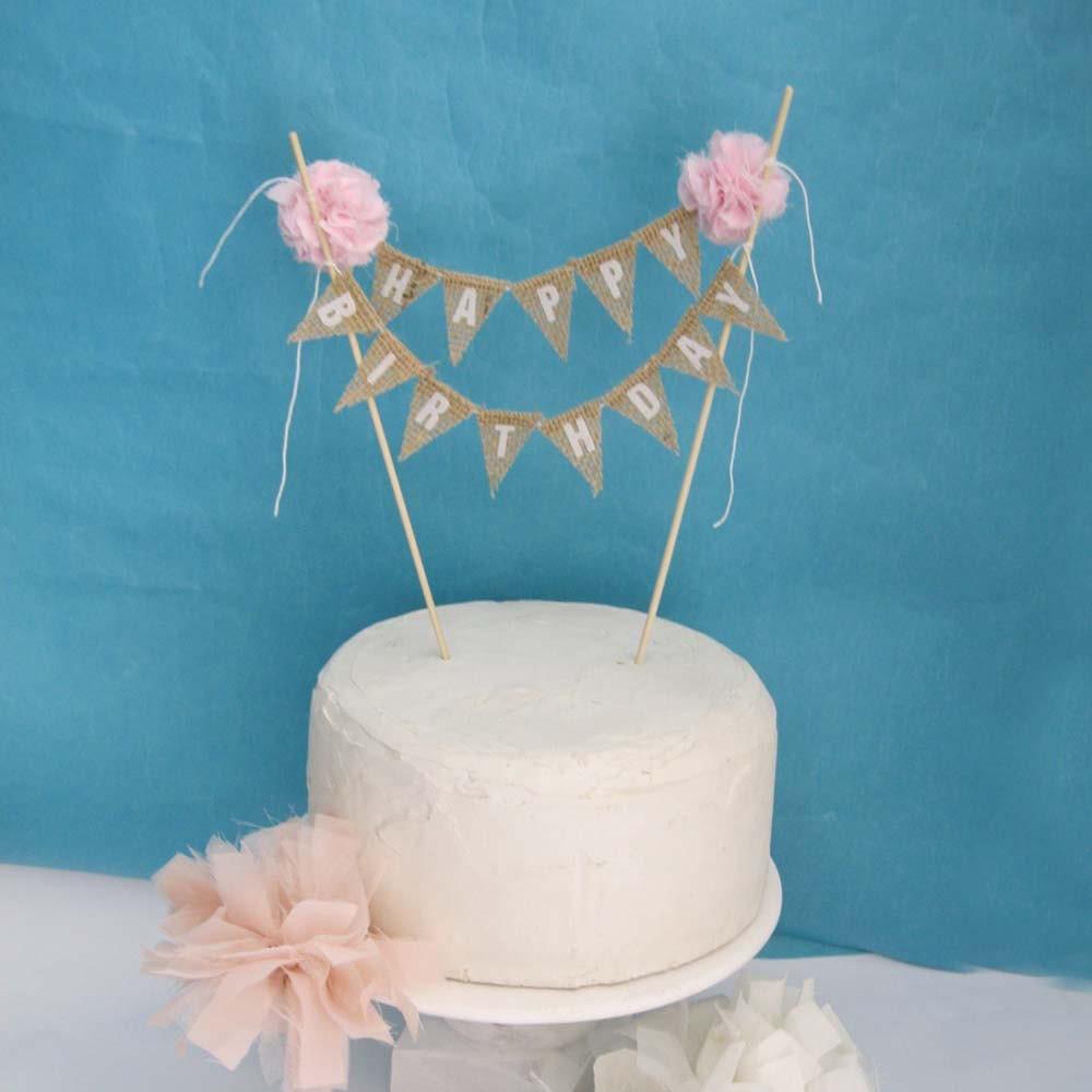 Rustic Burlap Cake Banner Pink Birthday Cake Bunting